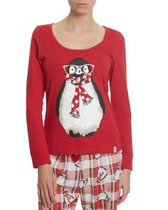 red Holiday Penguin Top