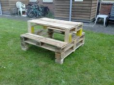 Pallet picnic table... perfect for a white trash bash. Plus its cheap & easy to make. I think I'd upholster the seats with duck tape for an added effect as well as splinter elimination.