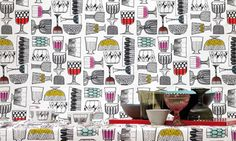 Kippis is a stunning, quirky design by Marimekko featuring groups of hand-drawn wine glasses and fruit bowls in a geometric pattern. Marimekko Wallpaper, Wallpaper Uk, Wallpaper Online, Designer Wallpaper, Textures Patterns, Print Patterns, Textile Pattern Design, Dining Room Walls, Inspiration Wall