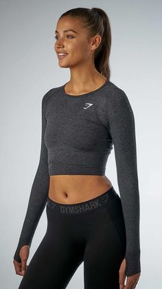 45472c2d80f65f NWT GYMSHARK Vital Seamless Long Sleeve Crop Top - BLACK - Small or Medium   fashion