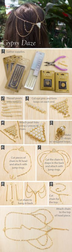 Show off your gypsy bohemian style with this easy to create headpiece. Get chain, pearls and supplies at Michaels Stores.