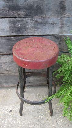 Vintage metal stool via Etsy. Vintage Stool, Vintage Metal, Repurposed Furniture, Vintage Furniture, Kitchen Carts, Step Stools, Metal Stool, Random Items, Bench Stool