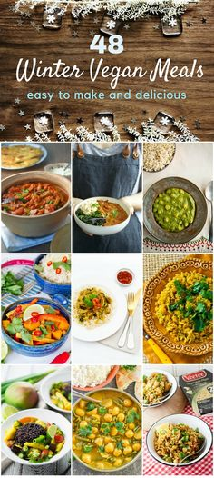 48 easy winter vegan meals including comforting soups, stews, pies and curries. #veganrecipes #vegan #stew #curry #dal #tagine #pies #soup #savourybakes #chilli