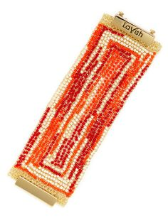 Red, Coral, & White Bead Bracelet by Lavish by Tricia Milaneze at Gilt