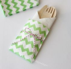 10 Wood Wooden Cutlery Bags w/ Silverware Utensils Table Setting Wedding Kids Birthday Party Baby Shower Favors Paper Goods Lime Chevron. $12.99, via Etsy.