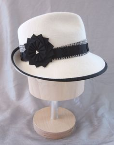 White Fedora with Black Cockade and Freshwater Pearls. Custom order. By Silverhill Creative Millinery.
