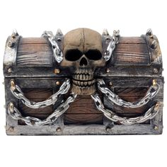 Evil Skull on Treasure Chest Trinket Box Statue with Hidden Storage Compartment #HomenGifts