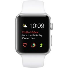 Apple Watch Silver Aluminum Case with White Sport Band ❤ liked on Polyvore featuring jewelry and watches