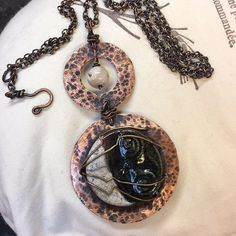 in with chain Ceramic Arts Daily, D Craft, Serendipity, Pocket Watch, Washer Necklace, Glazed Pottery, Photo And Video, Chain, Handmade