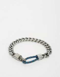 Bracelet by Designsix Silver-tone finish Curb chain Loop and clasp fastening 100% Stainless Steel