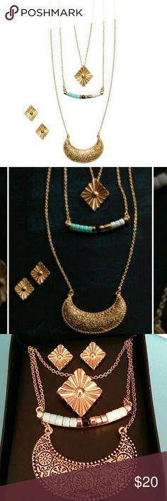 """Textured Arc Layered Necklace & Earring Set Gorgeous Avon Textured Arc Layered Necklace  and Earring Set. Goldtone and colorful faux stones in white, black & turquoise. 3 separate necklaces with the longest measuring 23"""" & 3 1/2"""" extender. Goldtone stud pierced earrings. Avon Jewelry Necklaces"""