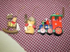 Vintage Wood Wooden Christmas Ornaments - Santa Clause Christmas Train Snowman Teddy bear on Rocking Horse lot by EvenTheKitchenSinkOH on Etsy