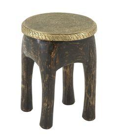 Antique Wood Brass Foot Stool