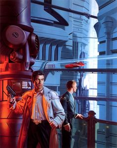 Elijah Baley and R. Daneel Olivaw, THE CAVES OF STEEL. Art by Stephen Youll.