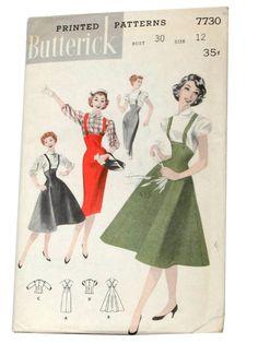 50s -Butterick Pattern No. 7730- Womens empire styled, buttoned suspender jumper with slim skirt. View B shows flared jumper. View C blouse with johnny collar, below-elbow puffed sleeves. View D has short, puffed sleeved blouse.