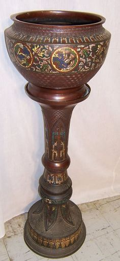 19th century Champleve' jardiniere and stand