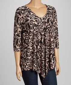 Look at this Black & Tan Floral V-Neck Top - Plus on #zulily today!