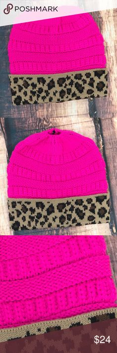 << Hot Pink & Leopard Messy Bun Ponytail Beanie >> Stay warm, be trendy, look cute in this Beanie! Pop your Ponytail or Messy Bun up through this Beanie for an effortlessly chic look. Accessories Hats