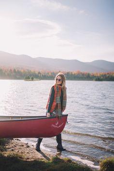 Gal Meets Glam Morning Canoe On Blueberry Lake - Penfield jacket, J.Crew vest, J.Crew turtleneck, Current Elliott jeans, Hunter boots, cable socks & Krewe sunglasses