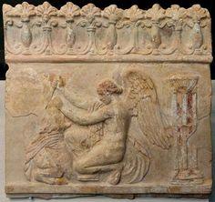 The Roman goddess Victoria ritually sacrificing a bull. Painted clay tablet. Ca. 1 C.E.