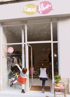 fantastic modern neon and pop of colour store sign at Boutique Chou Fleur, Paris