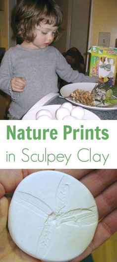 Making Sculpey Nature Prints with Children