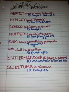 The Muppets Workout. In honor of the Muppets weekend on ABC family.