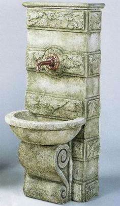 Garden fountains add a distinct element of elegance. Wall fountains are perfect for gardens, patios, or balconies. Indoor and Outdoor garden fountains and decor. Outdoor Wall Fountains, Garden Water Fountains, Stone Fountains, Water Garden, Outdoor Walls, Tabletop Fountain, Indoor Fountain, Fairy Fountain, Backyard Water Feature