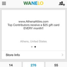 Don't forget to save Athena Attire products on @Wanelo and if you're a top contributor at the end of the month you'll get a $25 gift card!! #contest #wanelo #wanelocontest