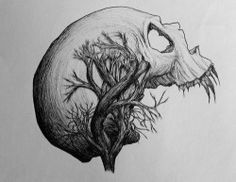 beauty drawing Illustration death skulls art Black and White Cool dope trees b&w skull skeletons nature amazing dead skeleton plants arts fangs sharp roots