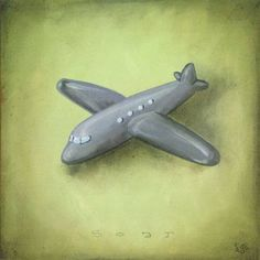 Oopsy Daisy - Boy's Toys - Airplane Canvas Wall Art 14x14, Heather Gentile-Collins