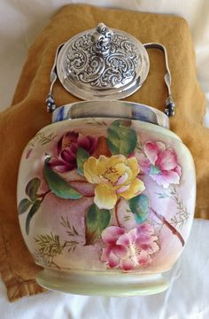 Vintage Biscuit Barrel, Carlton Ware, MINT, Silver Plate Lid and Handle…