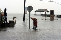 see how deep the water is at Bay Avenue and New Jersey Avenue in Somers Point, N.J., on Monday Oct. 29, 2012.