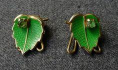Vintage 50's Jeweled Rhinstone Enameled Green Leaf Earrings   eBay