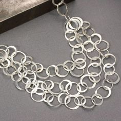 Sterling Silver Chain Statement Necklace by LizardiJewelry on Etsy                                                                                                                                                                                 More