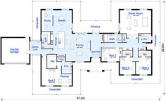 """Large Family House Floor Plan Cost Of Building A House -- that glass link needs to be a an actually functional mudroom, command center, pet reception area which also makes it look like the master suite is """"outside"""" the security envelope of the house. Floor Plan 4 Bedroom, 4 Bedroom House Plans, New House Plans, Dream House Plans, House Floor Plans, Layouts Casa, House Layouts, Home Design Plans, Plan Design"""