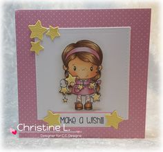 Handmade by Christine: CC Designs May Release Blog Hop. Materials used: Image and Sentiment - CC Designs Star Paper - CC Designs Tickled Pink Paper Pad Dies - CC Designs Cutter Square Dies, CC Designs Make a Card #14 Birthday Dies (for stars) Colouring - Copics Hair - E21/23/25 Skin - E000/00/11/70, R20 Pinks - RV91, R81/83 Stars Y21/35 Shoes E23/25 Shading - W0/1/3