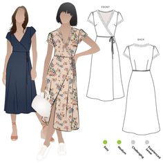 Sewing Dresses Annabelle Woven Dress Sewing Pattern By Style Arc - Woven wrap dress sewing pattern. Dress Sewing Patterns, Sewing Patterns Free, Free Sewing, Clothing Patterns, Pattern Dress, Wrap Dress Patterns, Dress Paterns, Apron Patterns, Fashion Patterns