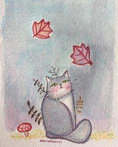 Merudemirci — #cat #doodle #illustration #watercolor...