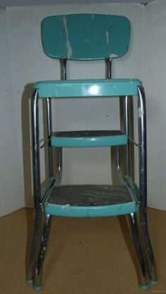 Vintage Retro Teal Aqua Turquoise Stylaire Kitchen Chair Step Stool Pull Out & Need one for my kitchen Vintage Restored COSCO Kitchen Step Stool ... islam-shia.org