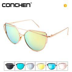 Cat Eye Mirrored Street Fashion Metal Frame Flat Lenses Women Sunglasse