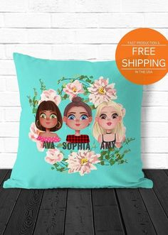 Custom best friend throw pillow, personalized with your BFFs portrait (1, 2 or 3 girls included, for more, please message me). Great gift idea for a birthday or graduation. Size: 14x14, 16x16, 18x18, 20x20 or 26x26. 2 options available: cover only or a full pillow with a polyester filling.