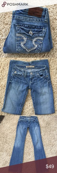 """🎉Sale🎉Big Star SweetBoot ultra low rise Medium blue wash Big Star """"Sweet Boot"""" ultra low-rise. Some wear on hems(shown in 4th pic). Great condition otherwise! Size 25R, 30 1/2"""" inseam. Big Star Jeans Boot Cut"""