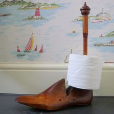 Vintage Shoe Last Toilet Roll Holder - maybe hold my rolls of twine?