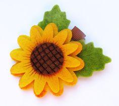 Felt Flower Clip Sunflower Etsy