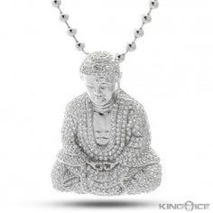 Platinum CZ Mini Buddha Pendant