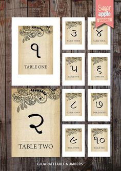 The printable indian wedding table numbering. Table number writen in Gujarati and then below written in english. this is a great touch for indian weddings. numbers 1-10   PRODUCT INFORMATION  **All purchases will be sent as digital files unless specified that you would like custom printing**  This is a vintage, indian A5 table numbering cards. FOR DIGITAL FILE PURCHASES:  FIRST --> Purchase the listing and download    : : : o t h e r - o p t i o n s…