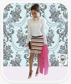 Nosso presente pra começar a semana: Camisa de Renda + Saia Candy! Estamos morrendo de amor! www.maniadesophia.com.br.