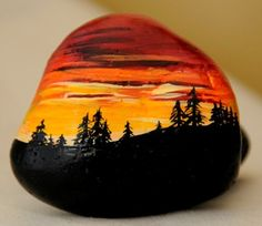 Rock art, Sunset in the woods Pebble Painting, Pebble Art, Stone Painting, Stone Crafts, Rock Crafts, Painted Shells, Rock And Pebbles, Rock Painting Designs, Hand Painted Rocks