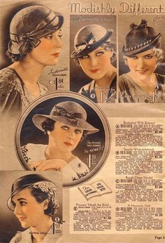 "Hats from Chicago Mail Order Catalog 1933 source"""""" Hats to go with McCalls 1933 Archive patterns. 1930s Fashion, Vintage Fashion, Fashion Mag, Victorian Fashion, Fashion Fashion, Womens Fashion, Fashion Brands, Fashion Tips For Women, Fashion Advice"